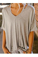 V Neck Short Sleeve Plain Loose Casual T-Shirts