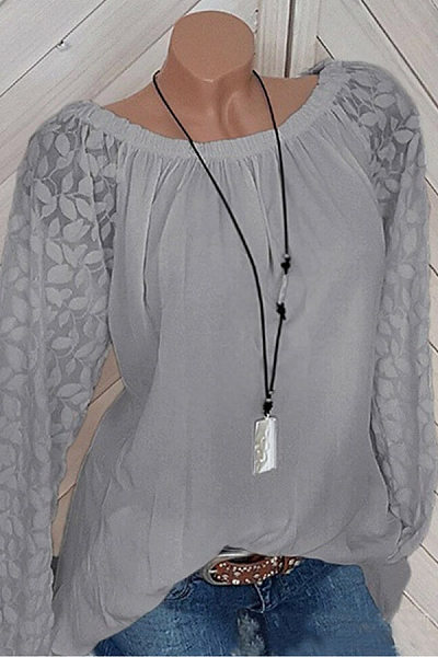 Round Neck Long Sleeve Embossed Casual Blouse