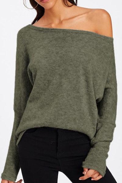 Open Shoulder  Loose Fitting  Plain  Batwing Sleeve  Sweatshirts