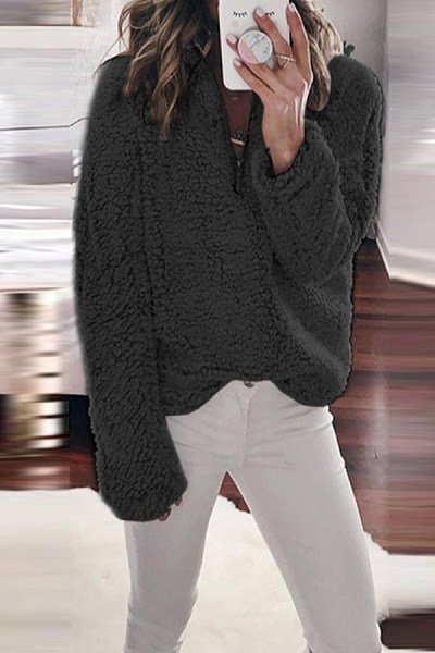 Casual Loose Large Size Stand Collar Zipper Long Sleeve Sweatershirt