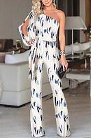 Fashion One Shoulder Slit Sleeve Jumpsuit