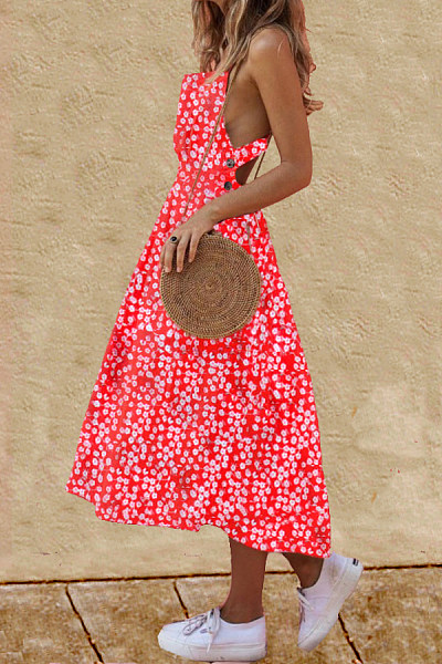 Asymmetric Neck  Single Breasted  Print  Sleeveless Maxi Dresses