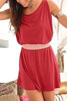 Round Neck  Patchwork  Plain Casual Dresses