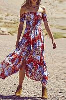 Off Shoulder  High Slit  Floral Printed  Short Sleeve Maxi Dresses