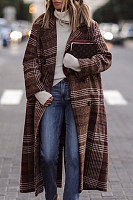 Fold Over Collar  Single Button  Checkered Outerwear
