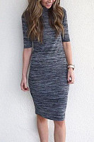 Round Neck  Plain  Half Sleeve Bodycon Dresses