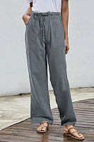 Solid Color Loose Long Pants