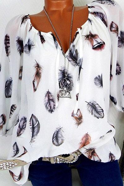 Autumn Spring Summer  Cotton  Women  Tie Collar  Feather  Three-Quarter Sleeve Blouses