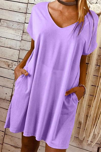 Solid Color V Neck Short Sleeve Mini Dress