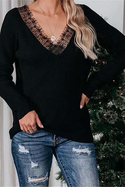 V Neck Long Sleeve Lace Up T-shirt