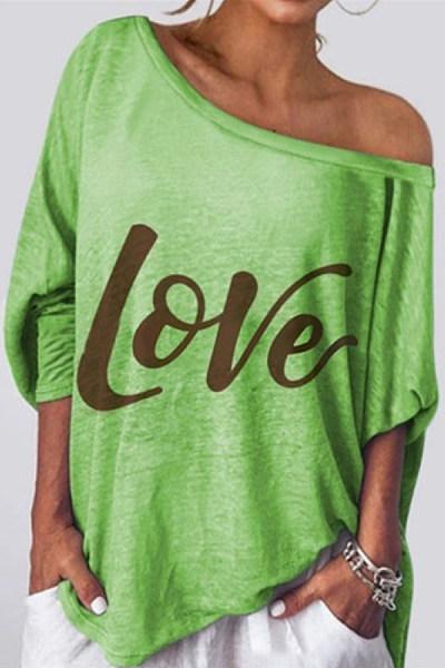 Letters Open Shoulder Collar T-shirt
