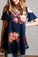 Open Shoulder V Neck  Asymmetric Hem  Floral Printed T-Shirts