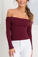 Off Shoulder Exposed Navel Long Sleeve Knitwear