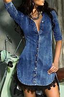 Fold Over Collar  Single Breasted  Plain  Long Sleeve Bodycon Dresses
