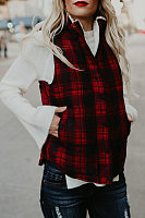 Band Collar  Asymmetric Hem  Plaid Waist Coat