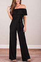 Off Shoulder  Belt  Plain  Short Sleeve Jumpsuits