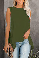 Round Neck Sleeveless Irregular Hem Plain Vest