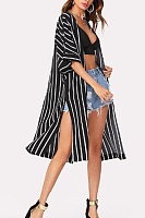 Casual Snap Front  Striped Cardigans
