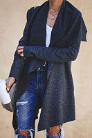 Lapel  Asymmetric Hem  Plain Outerwear
