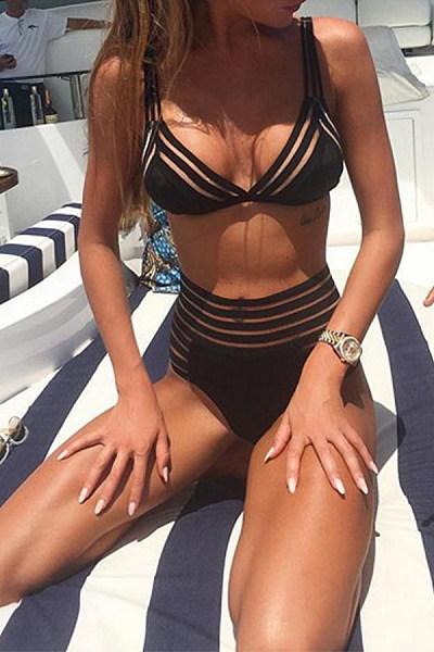 Spaghetti Strap  Cross Straps  Striped Bikini