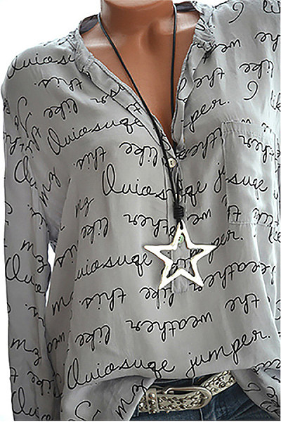 Casual V Neck Long Sleeve Printed Letter Blouse