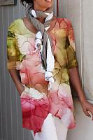 Fashion print asymmetric top