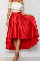 Asymmetric Hem  Plain Maxi Skirts