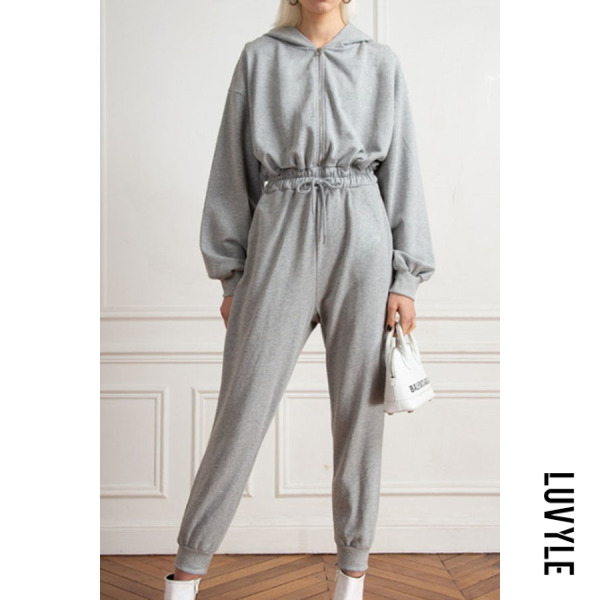 Gray Casual Hoodie Long Sleeve Jumpsuits Gray Casual Hoodie Long Sleeve Jumpsuits