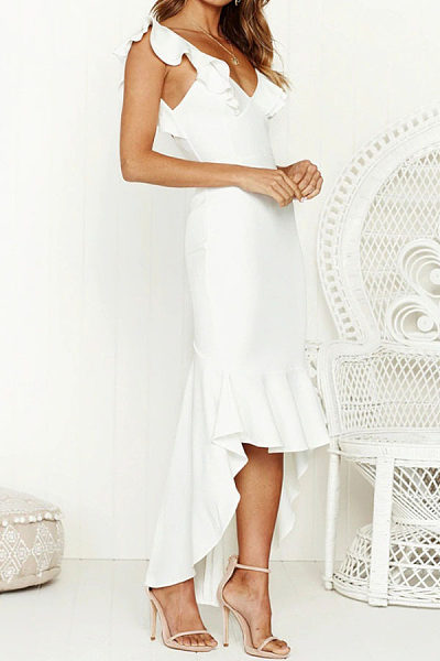 V Neck  Asymmetric Hem  Plain  Extra Short Sleeve Maxi Dresses