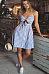 Spaghetti Strap Backless Exposed Navel Vertical Striped Skater Dresses