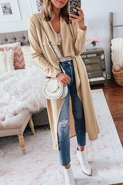 Casual Long Solid Color Trench Coat