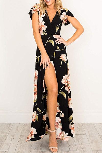 V Neck  Asymmetric Hem  Floral Printed Maxi Dresses