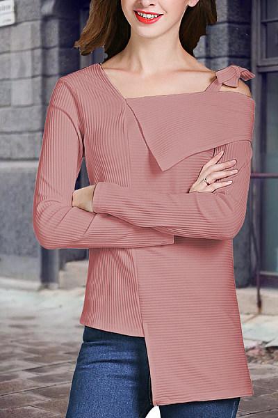 Asymmetric Neck  Asymmetric Hem  Plain Sweaters