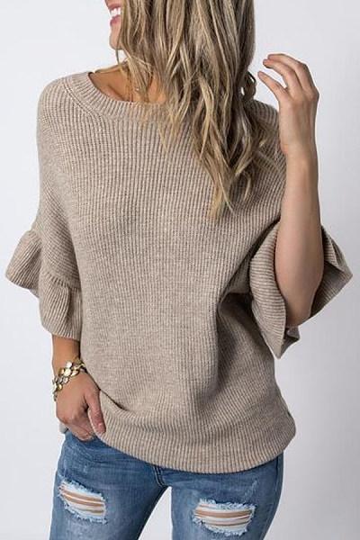 Petal Sleeve Round Neck Plain Sweater