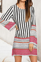 Round Neck  Patchwork  Print  Long Sleeve Casual Dresses
