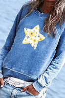 Fashion Long-sleeved Five-star Printed Sweater
