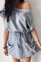 One Shoulder  Slit Pocket  Belt  Plain  Short Sleeve Casual Dresses