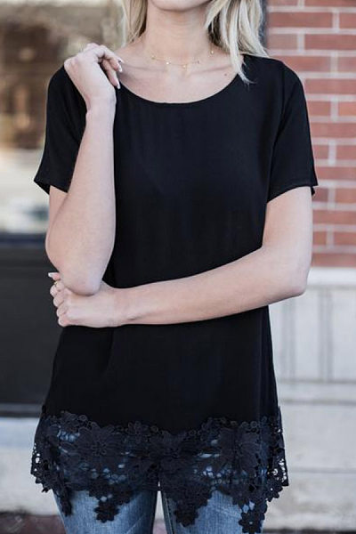 Round Neck Short Sleeve Lace Splice Solid T-shirt