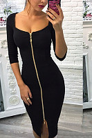 Scoop Neck  Zipper  Plain  Half Sleeve Bodycon Dresses