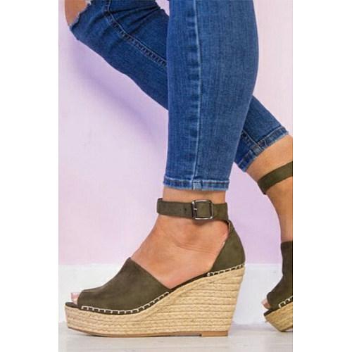 Plain  Velvet Ankle Strap Peep Toe  Wedge Sandals