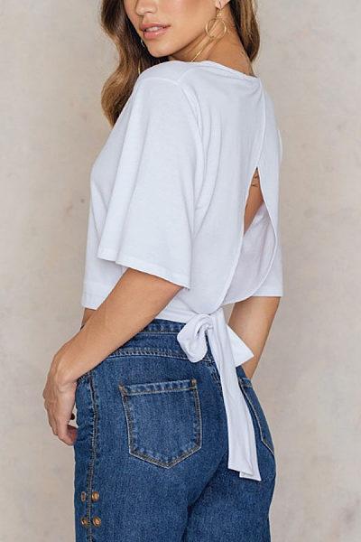 V Neck  Backless  Plain T-Shirts