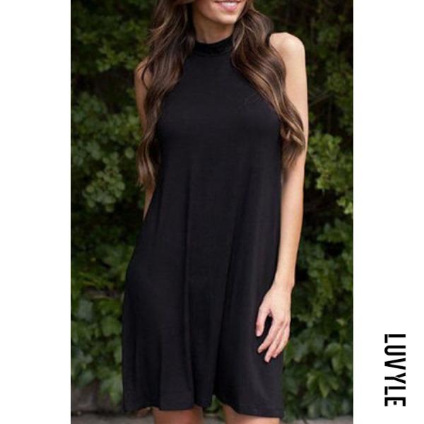 Black Mock Neck Sleeveless Short Dress Black Mock Neck Sleeveless Short Dress
