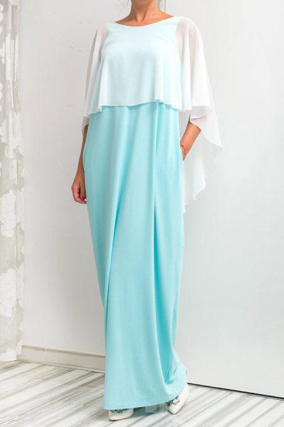 Chiffon Cape Sleeve Backless Maxi Dresses