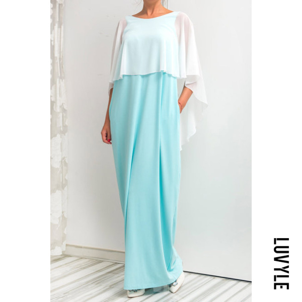 78c8ff55bb31 Chiffon Cape Sleeve Backless Maxi Dresses ...