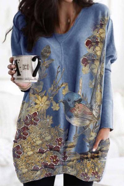 Bird Printed Loose Pockets T-shirt