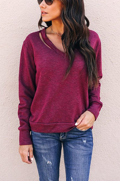 Open Shoulder  Plain T-Shirts