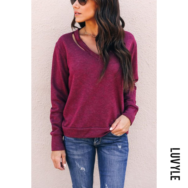 Purple Open Shoulder Plain T-Shirts Purple Open Shoulder Plain T-Shirts