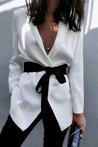 Fold-Over Collar  Belt  Plain Blazers