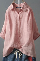 Casual Single-Breasted Lapel Short-Sleeved Blouse