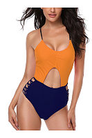 Round Neck  Back Hole  Plain One Piece